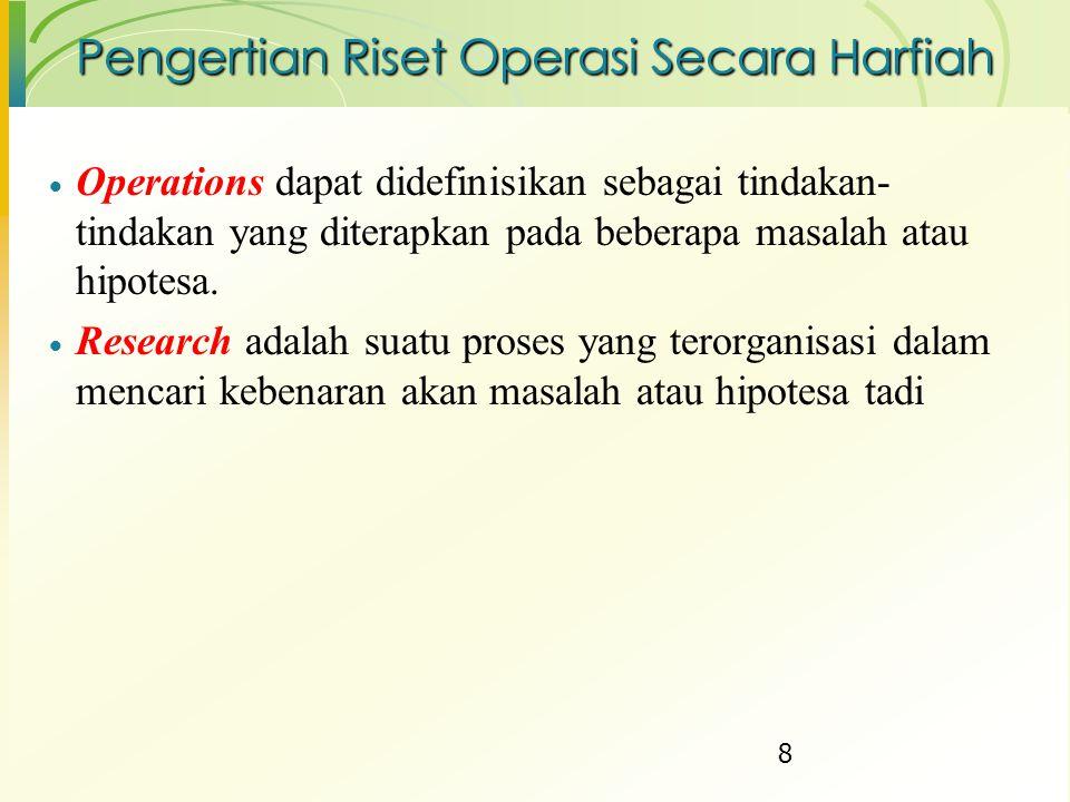 Pengertian Riset Operasi Secara Harfiah