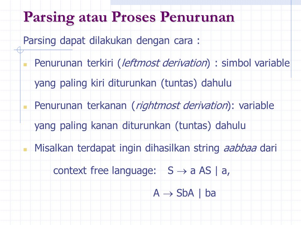 Parsing atau Proses Penurunan
