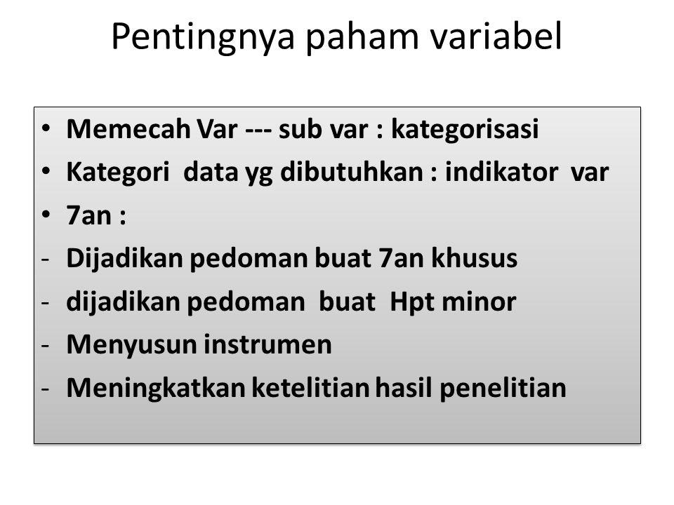 Pentingnya paham variabel