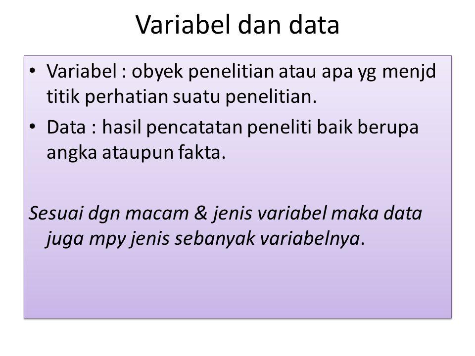 Variabel dan data Variabel : obyek penelitian atau apa yg menjd titik perhatian suatu penelitian.