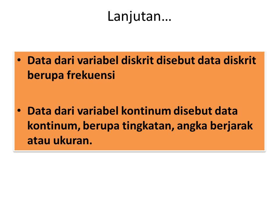 Lanjutan… Data dari variabel diskrit disebut data diskrit berupa frekuensi.
