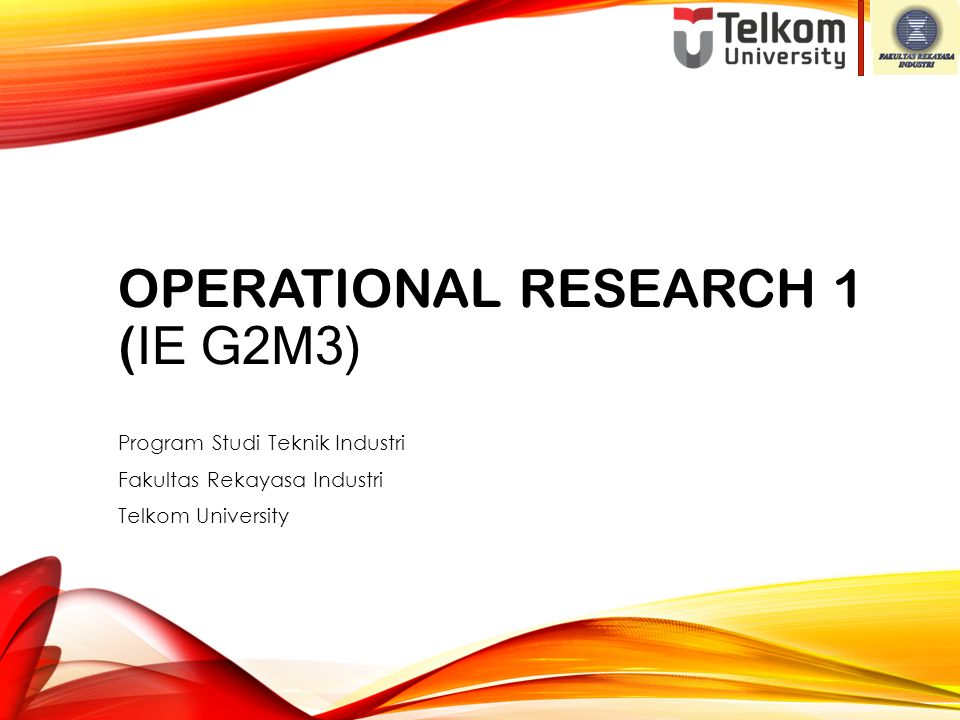 Operational Research 1 (IE G2M3)