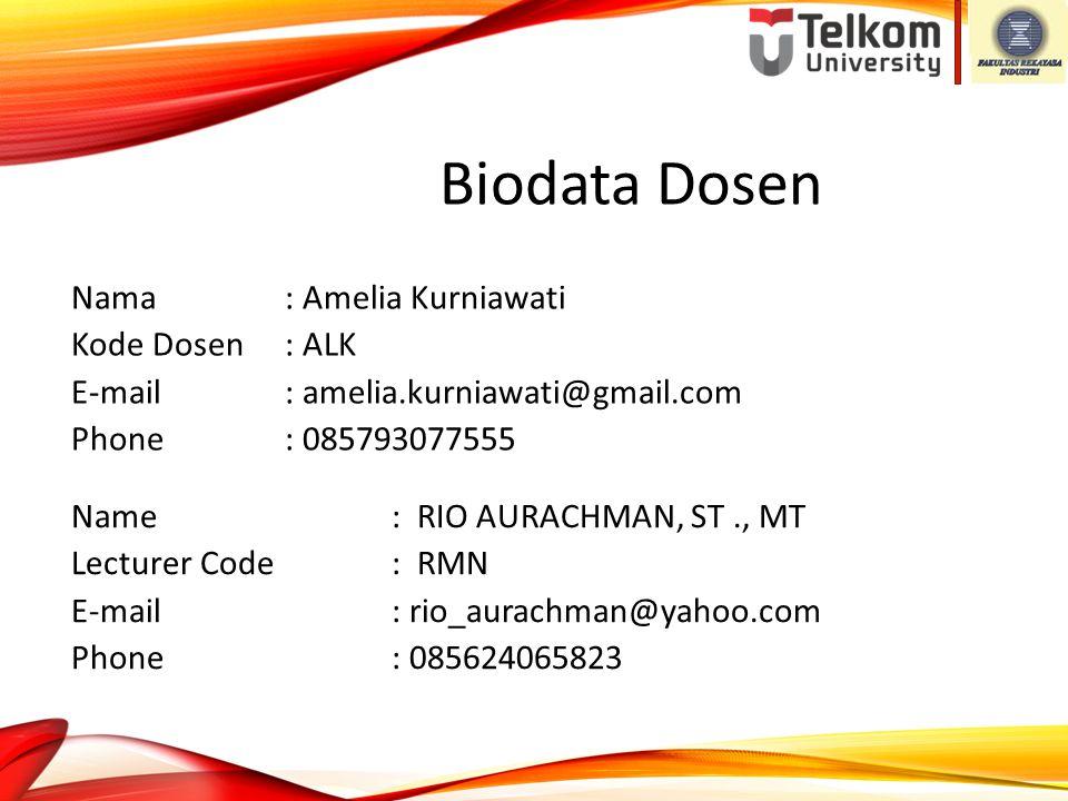 Biodata Dosen Nama : Amelia Kurniawati Kode Dosen : ALK E-mail : amelia.kurniawati@gmail.com Phone : 085793077555