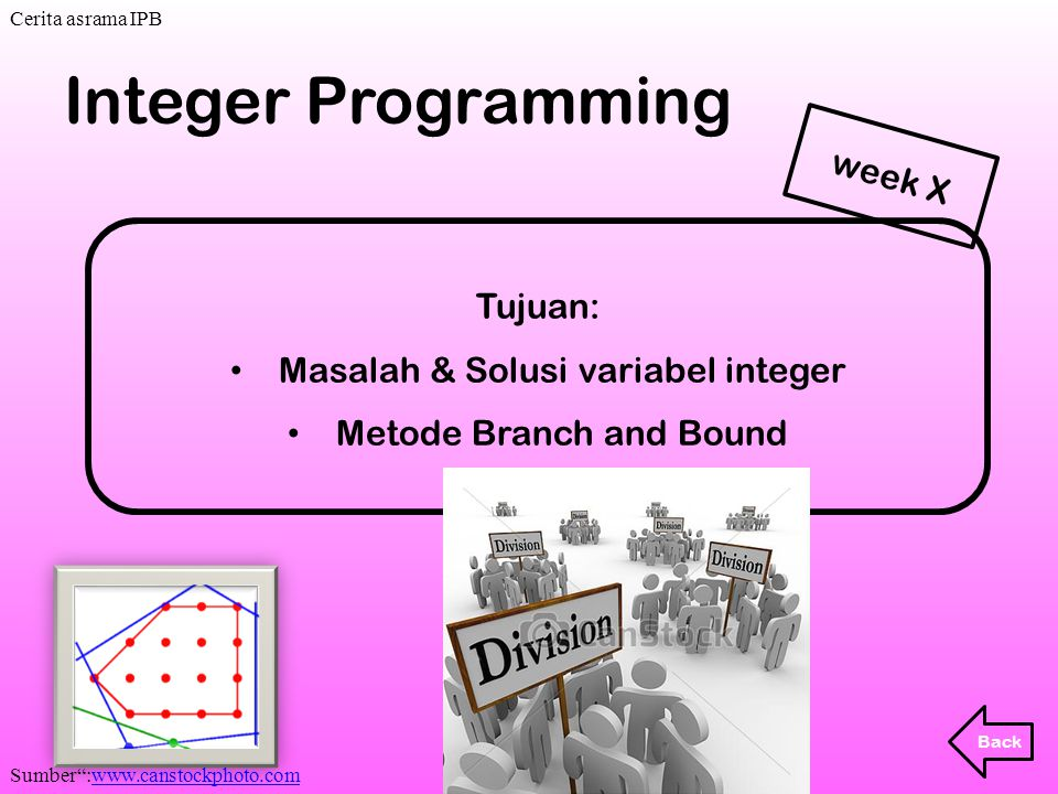 . Integer Programming week X Tujuan: Masalah & Solusi variabel integer