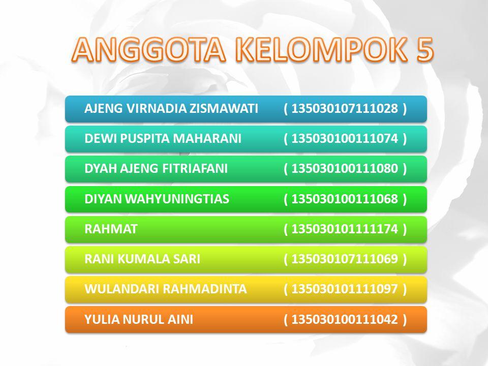 ANGGOTA KELOMPOK 5 AJENG VIRNADIA ZISMAWATI ( 135030107111028 )