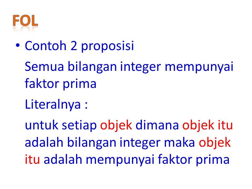 FoL Contoh 2 proposisi Semua bilangan integer mempunyai faktor prima