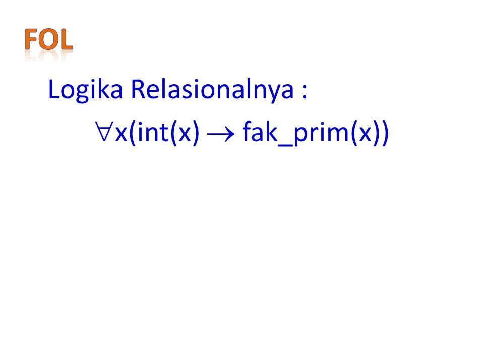 FoL Logika Relasionalnya : x(int(x)  fak_prim(x))