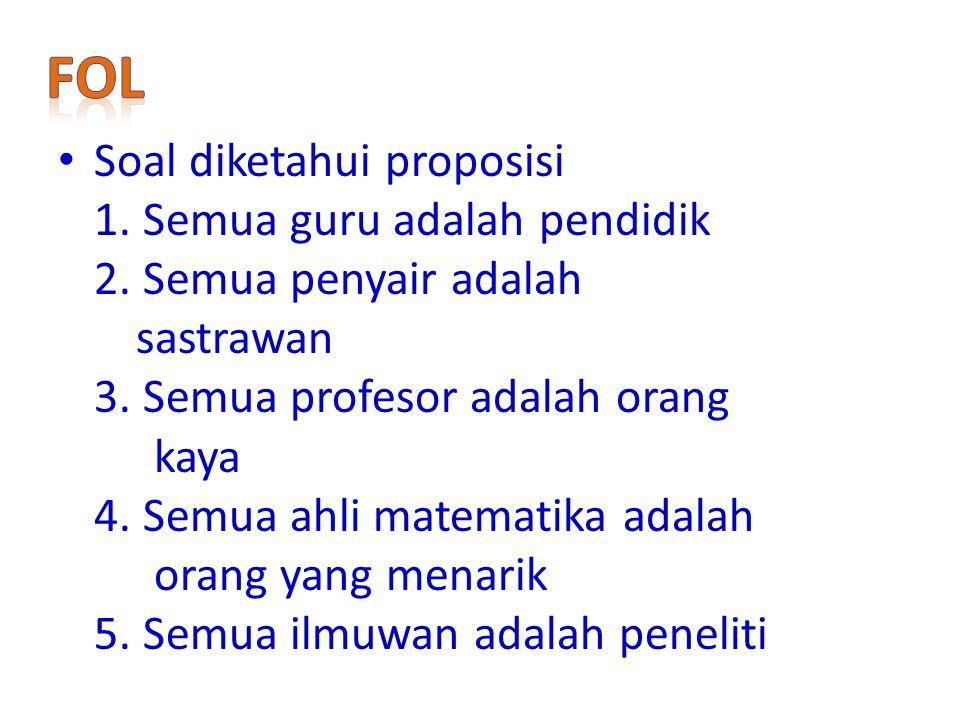 FoL Soal diketahui proposisi 1. Semua guru adalah pendidik