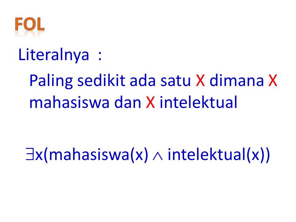 FoL Literalnya : Paling sedikit ada satu X dimana X mahasiswa dan X intelektual x(mahasiswa(x)  intelektual(x))