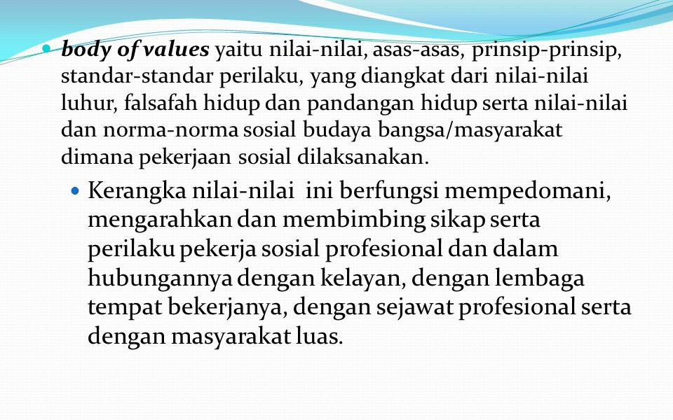 body of values yaitu nilai-nilai, asas-asas, prinsip-prinsip, standar-standar perilaku, yang diangkat dari nilai-nilai luhur, falsafah hidup dan pandangan hidup serta nilai-nilai dan norma-norma sosial budaya bangsa/masyarakat dimana pekerjaan sosial dilaksanakan.