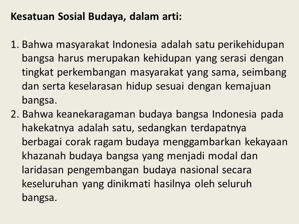Kesatuan Sosial Budaya, dalam arti: