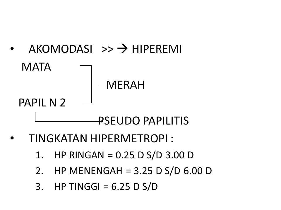 AKOMODASI >>  HIPEREMI MATA MERAH PAPIL N 2 PSEUDO PAPILITIS