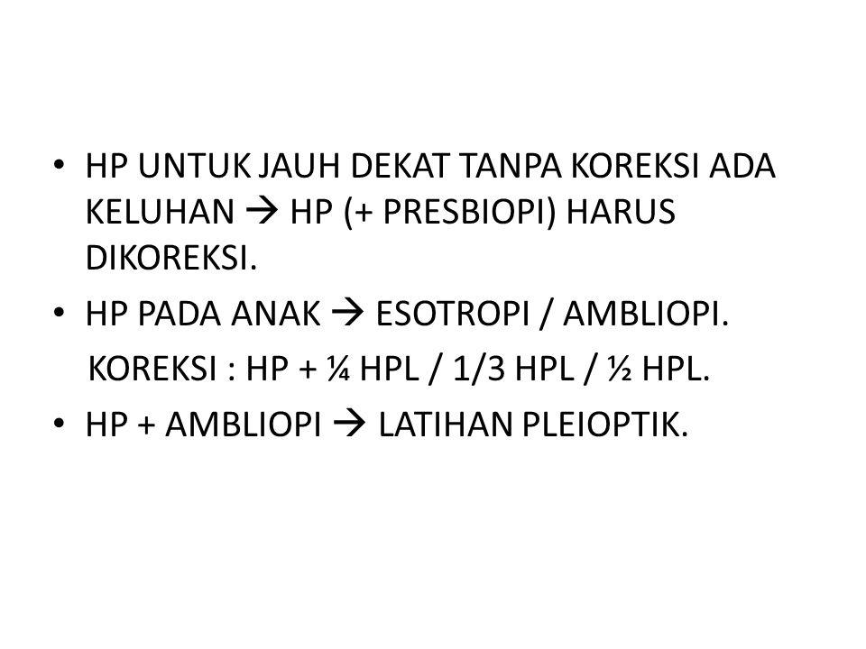 HP UNTUK JAUH DEKAT TANPA KOREKSI ADA KELUHAN  HP (+ PRESBIOPI) HARUS DIKOREKSI.