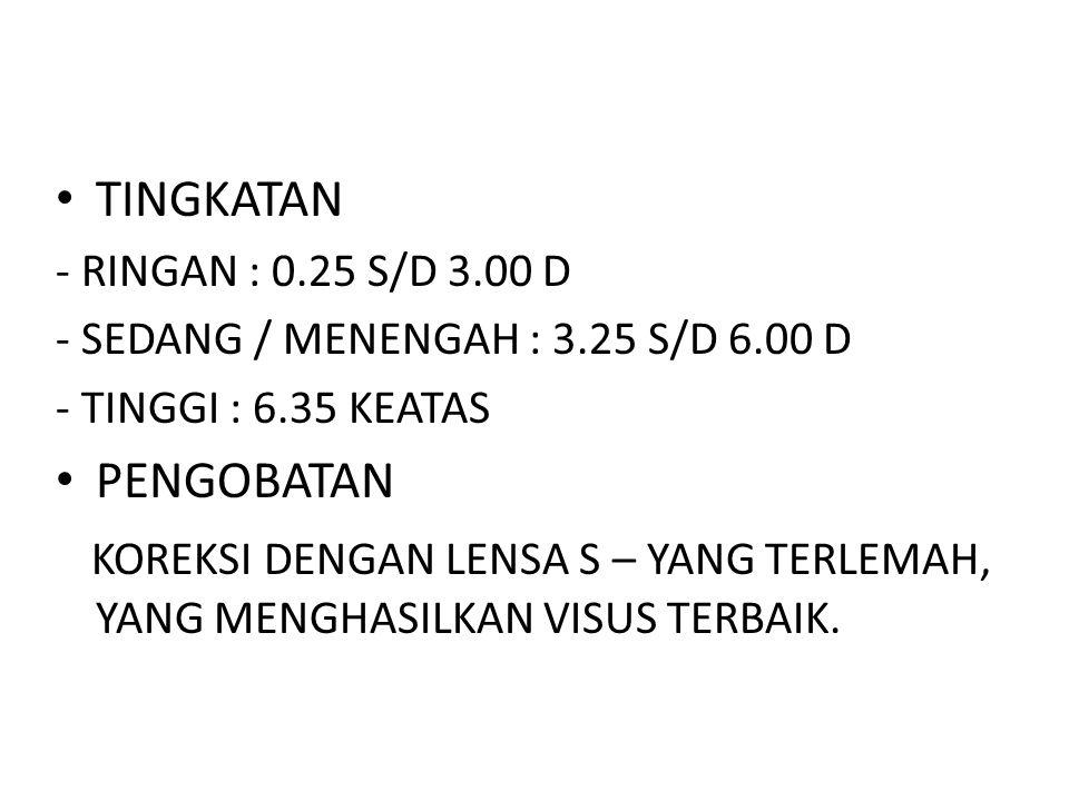 TINGKATAN - RINGAN : 0.25 S/D 3.00 D. - SEDANG / MENENGAH : 3.25 S/D 6.00 D. - TINGGI : 6.35 KEATAS.