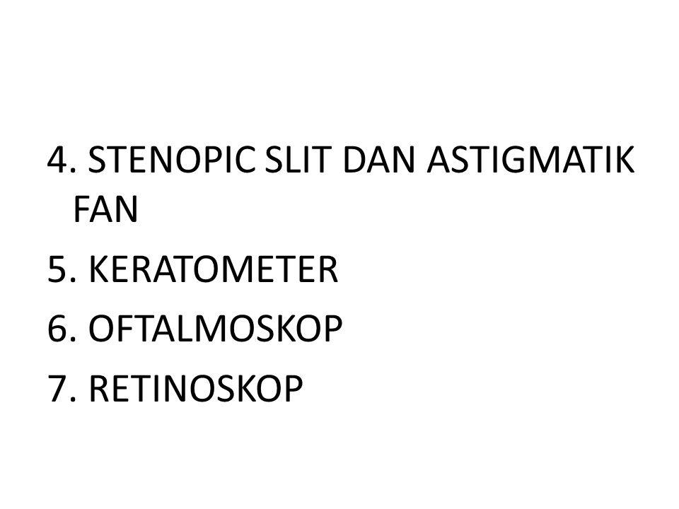4. STENOPIC SLIT DAN ASTIGMATIK FAN 5. KERATOMETER 6. OFTALMOSKOP 7
