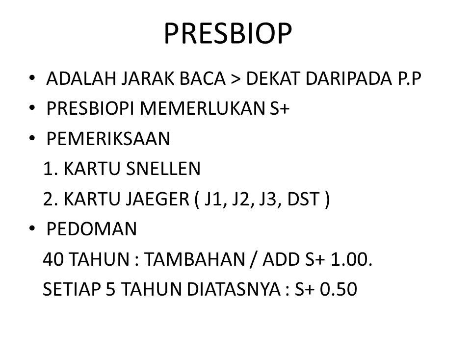 PRESBIOP ADALAH JARAK BACA > DEKAT DARIPADA P.P