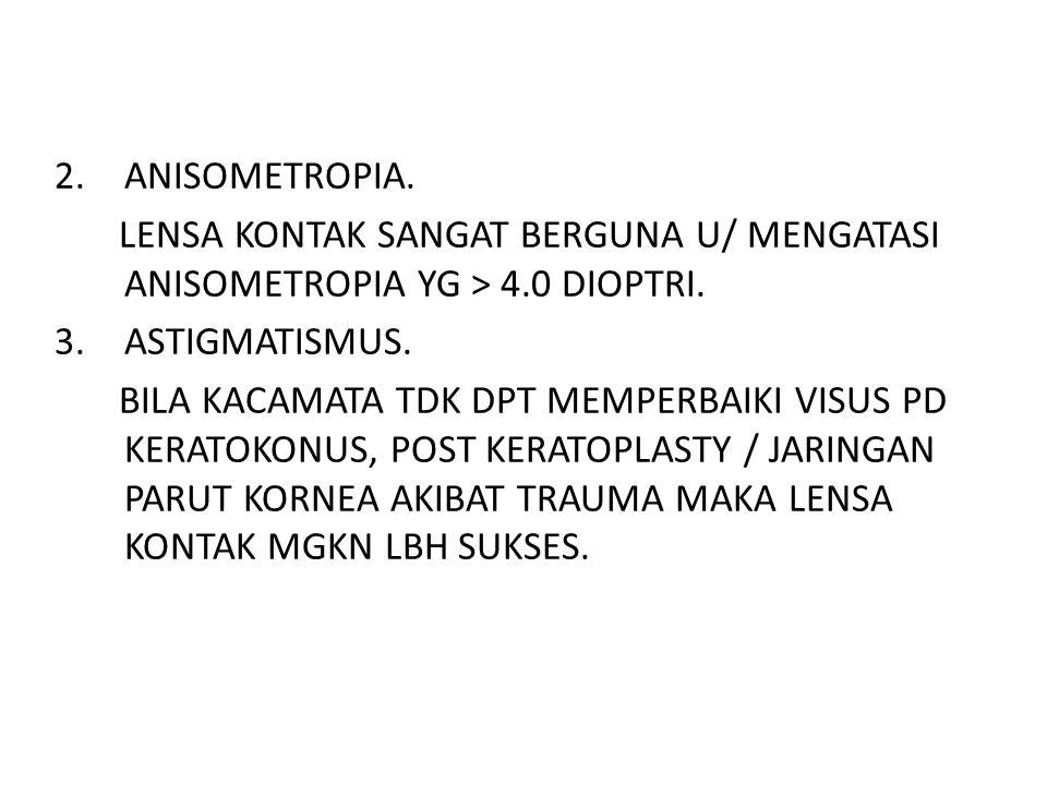 ANISOMETROPIA. LENSA KONTAK SANGAT BERGUNA U/ MENGATASI ANISOMETROPIA YG > 4.0 DIOPTRI. ASTIGMATISMUS.