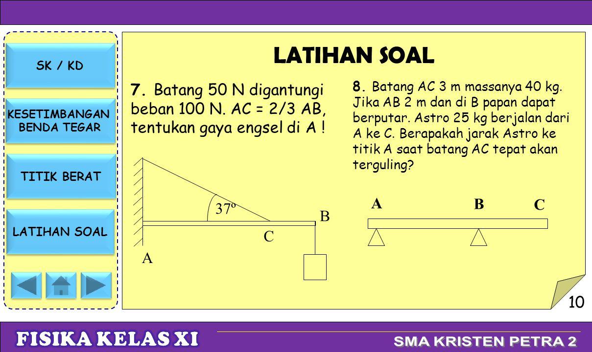 LATIHAN SOAL 7. Batang 50 N digantungi beban 100 N. AC = 2/3 AB, tentukan gaya engsel di A !