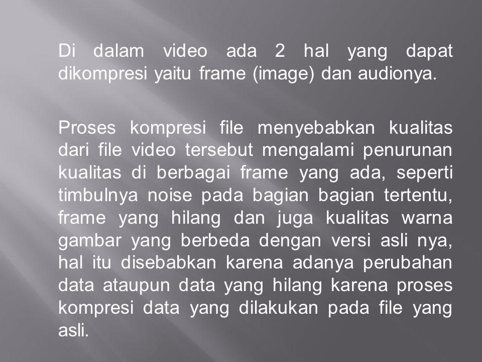Di dalam video ada 2 hal yang dapat dikompresi yaitu frame (image) dan audionya.