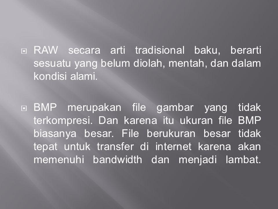 RAW secara arti tradisional baku, berarti sesuatu yang belum diolah, mentah, dan dalam kondisi alami.