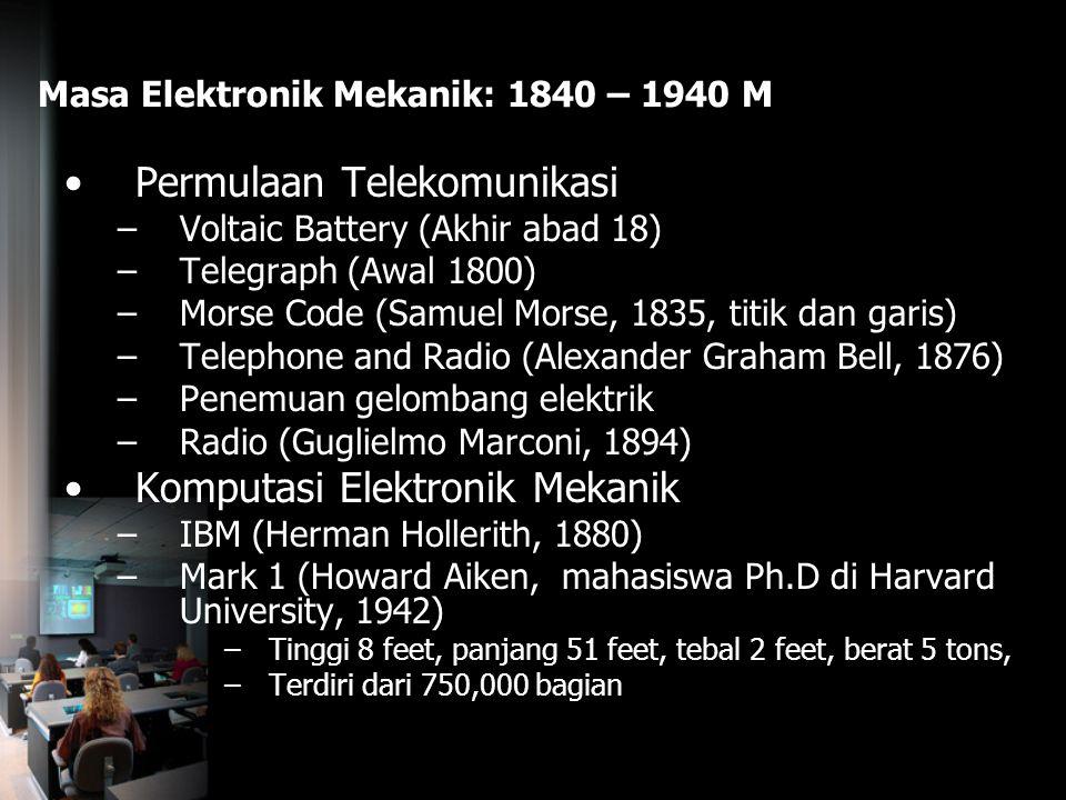 Masa Elektronik Mekanik: 1840 – 1940 M