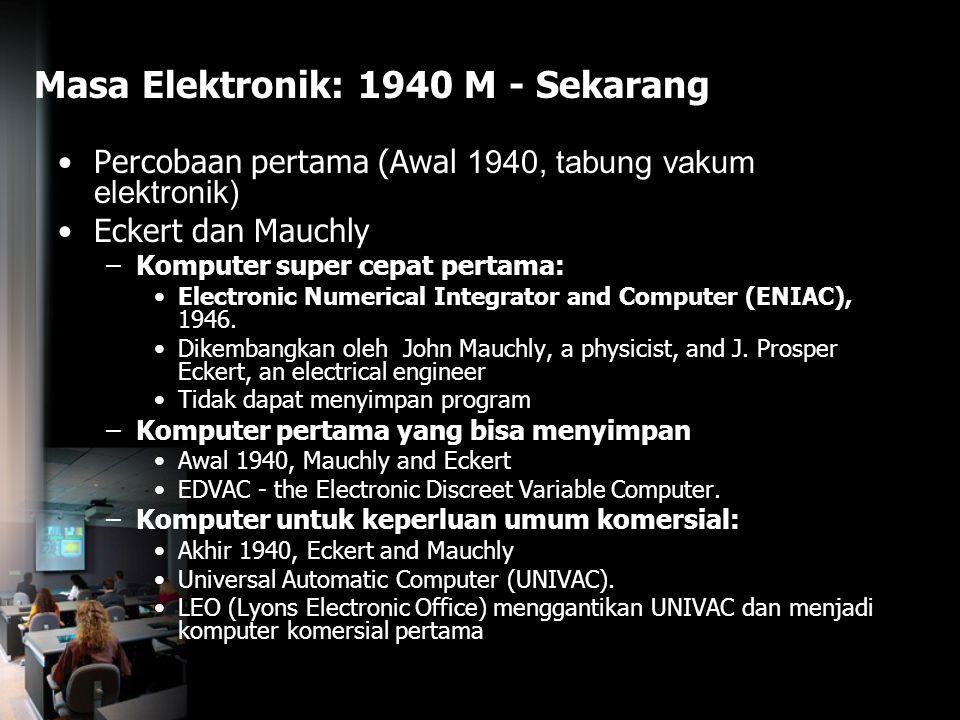Masa Elektronik: 1940 M - Sekarang