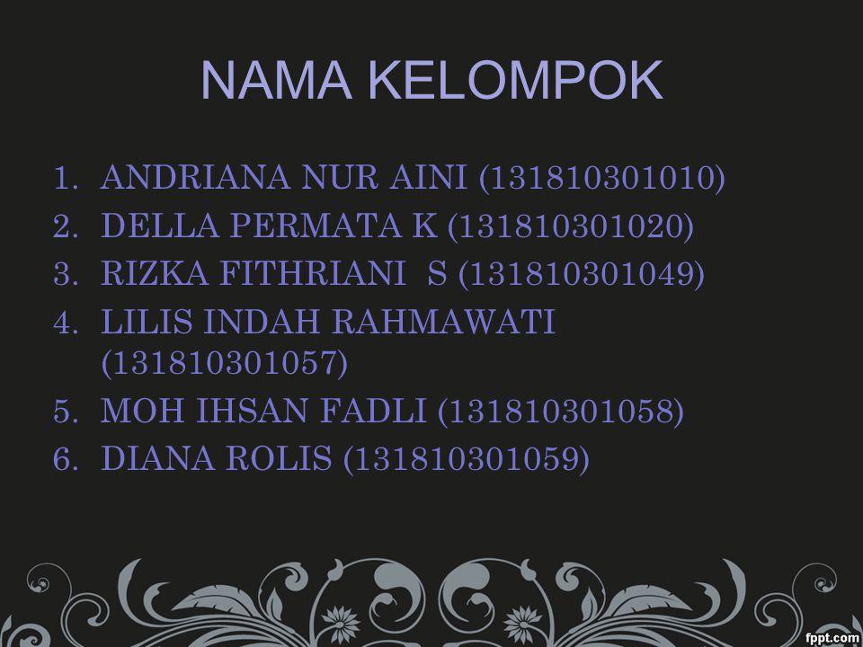 NAMA KELOMPOK ANDRIANA NUR AINI (131810301010)