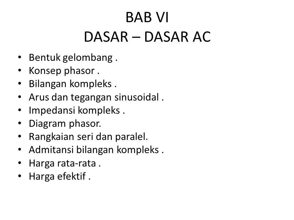 BAB VI DASAR – DASAR AC Bentuk gelombang . Konsep phasor .