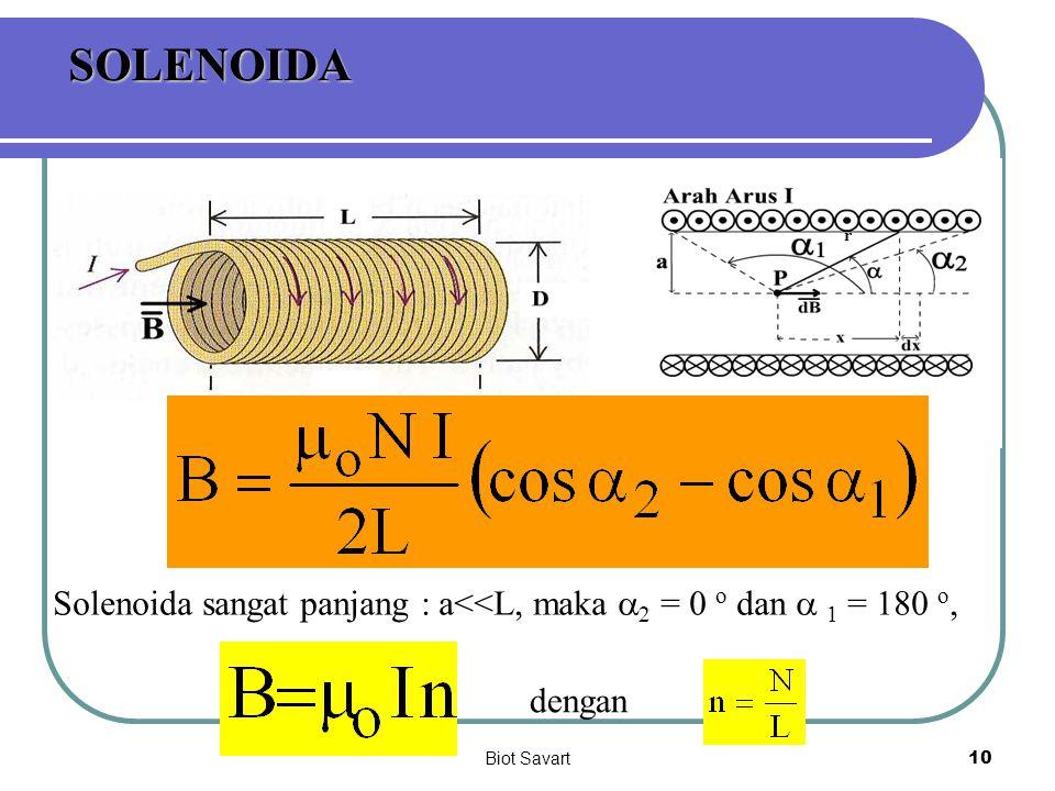 SOLENOIDA r Solenoida sangat panjang : a<<L, maka a2 = 0 o dan a 1 = 180 o, dengan Biot Savart