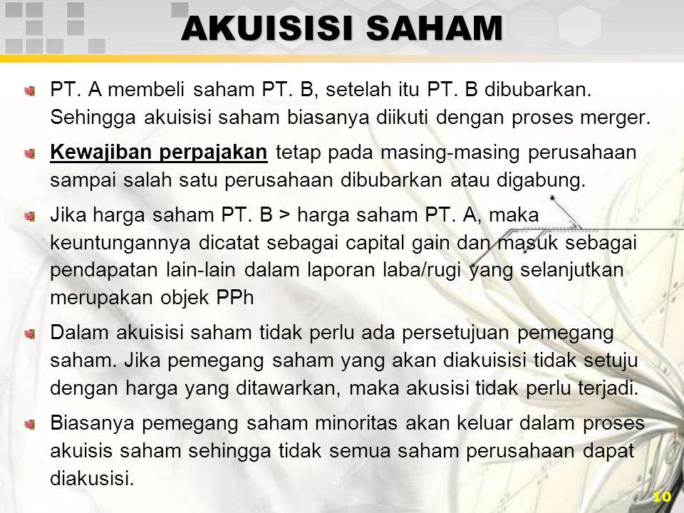 AKUISISI SAHAM PT. A membeli saham PT. B, setelah itu PT. B dibubarkan. Sehingga akuisisi saham biasanya diikuti dengan proses merger.