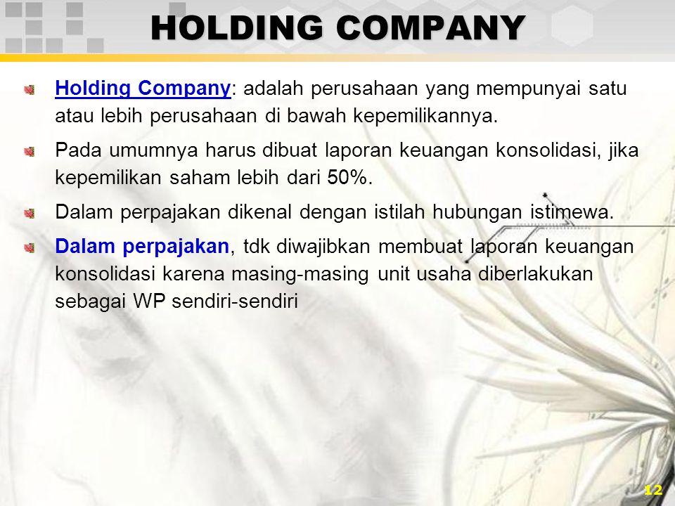HOLDING COMPANY Holding Company: adalah perusahaan yang mempunyai satu atau lebih perusahaan di bawah kepemilikannya.