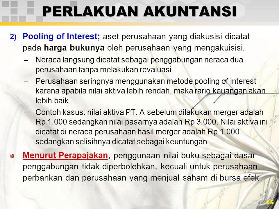 PERLAKUAN AKUNTANSI Pooling of Interest; aset perusahaan yang diakusisi dicatat pada harga bukunya oleh perusahaan yang mengakuisisi.