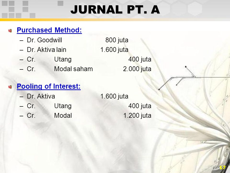 JURNAL PT. A Purchased Method: Pooling of Interest: