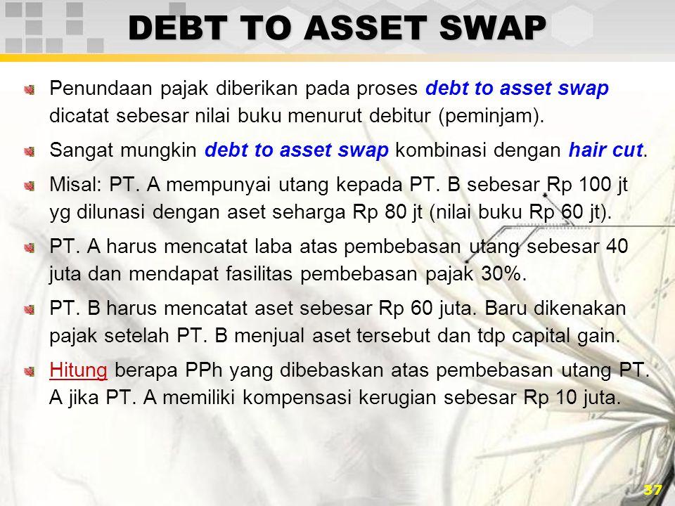 DEBT TO ASSET SWAP Penundaan pajak diberikan pada proses debt to asset swap dicatat sebesar nilai buku menurut debitur (peminjam).