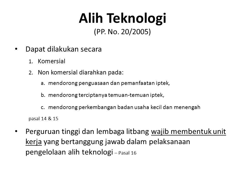 Alih Teknologi (PP. No. 20/2005)