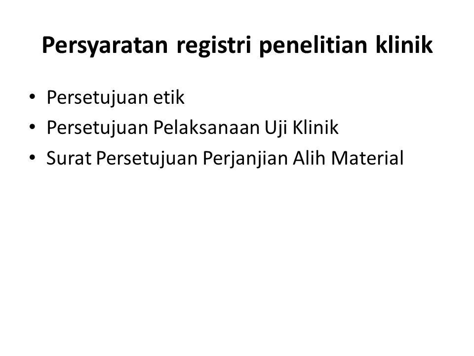 Persyaratan registri penelitian klinik