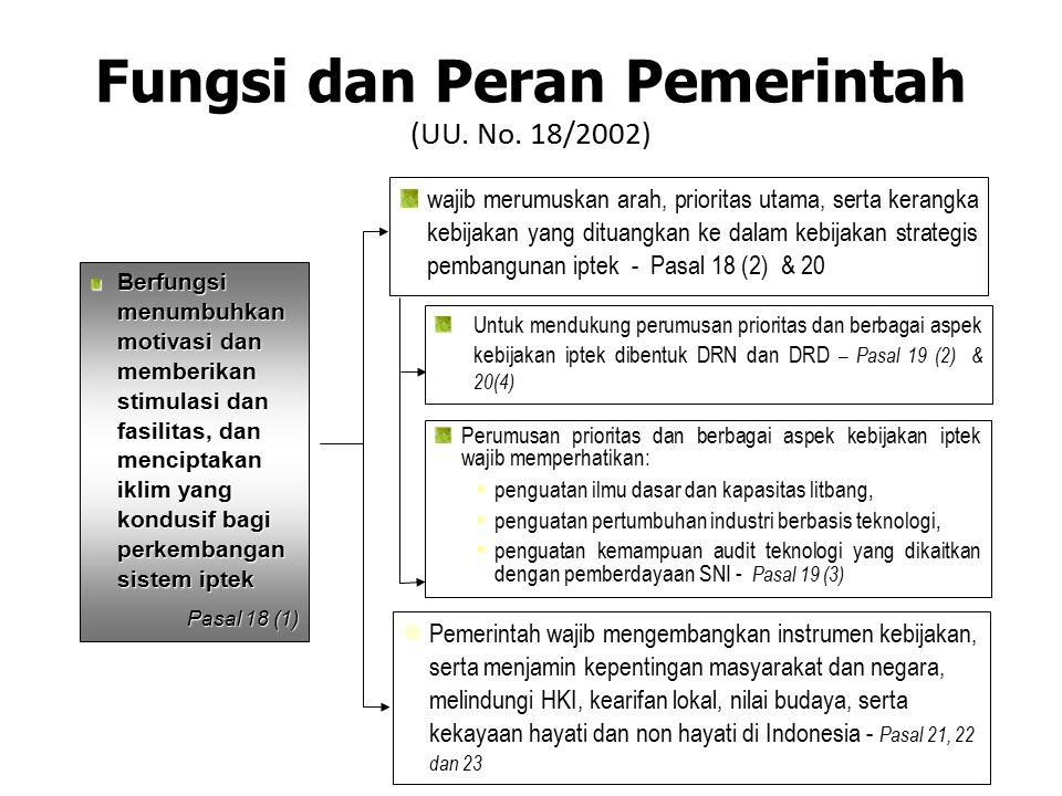 Fungsi dan Peran Pemerintah (UU. No. 18/2002)