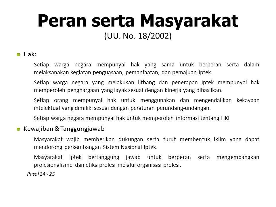 Peran serta Masyarakat (UU. No. 18/2002)