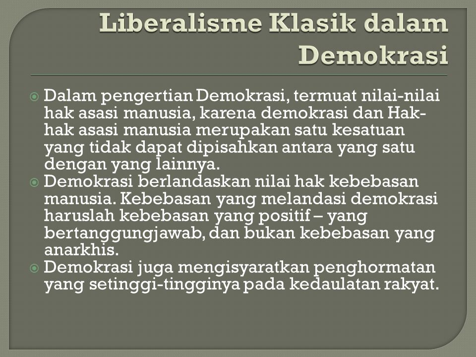 Liberalisme Klasik dalam Demokrasi