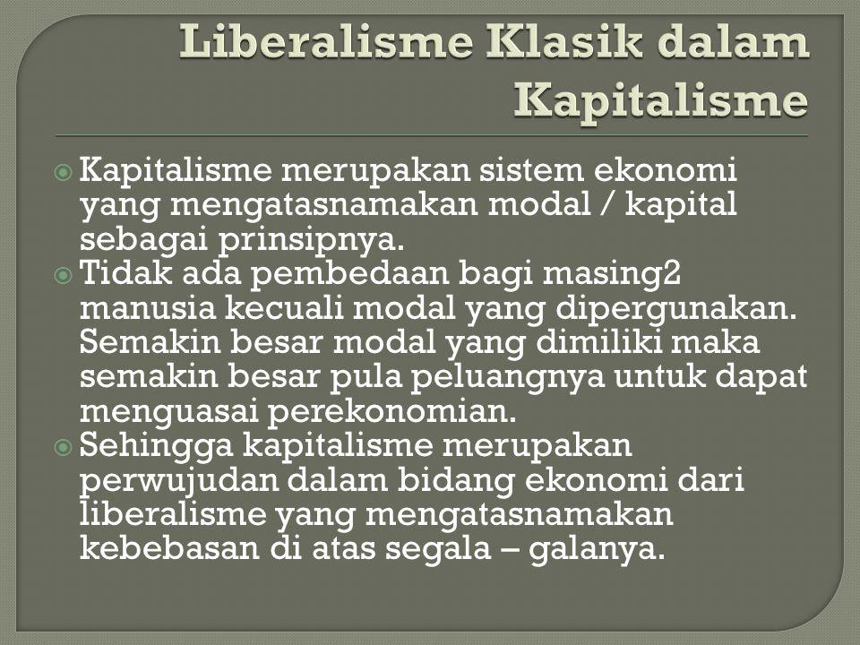 Liberalisme Klasik dalam Kapitalisme