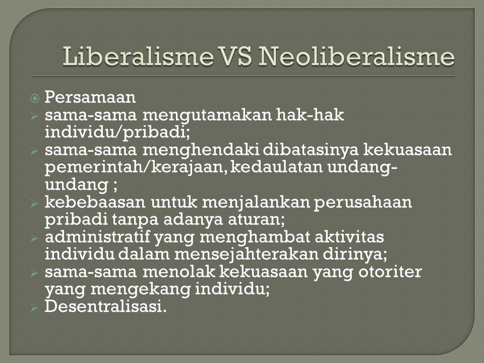 Liberalisme VS Neoliberalisme
