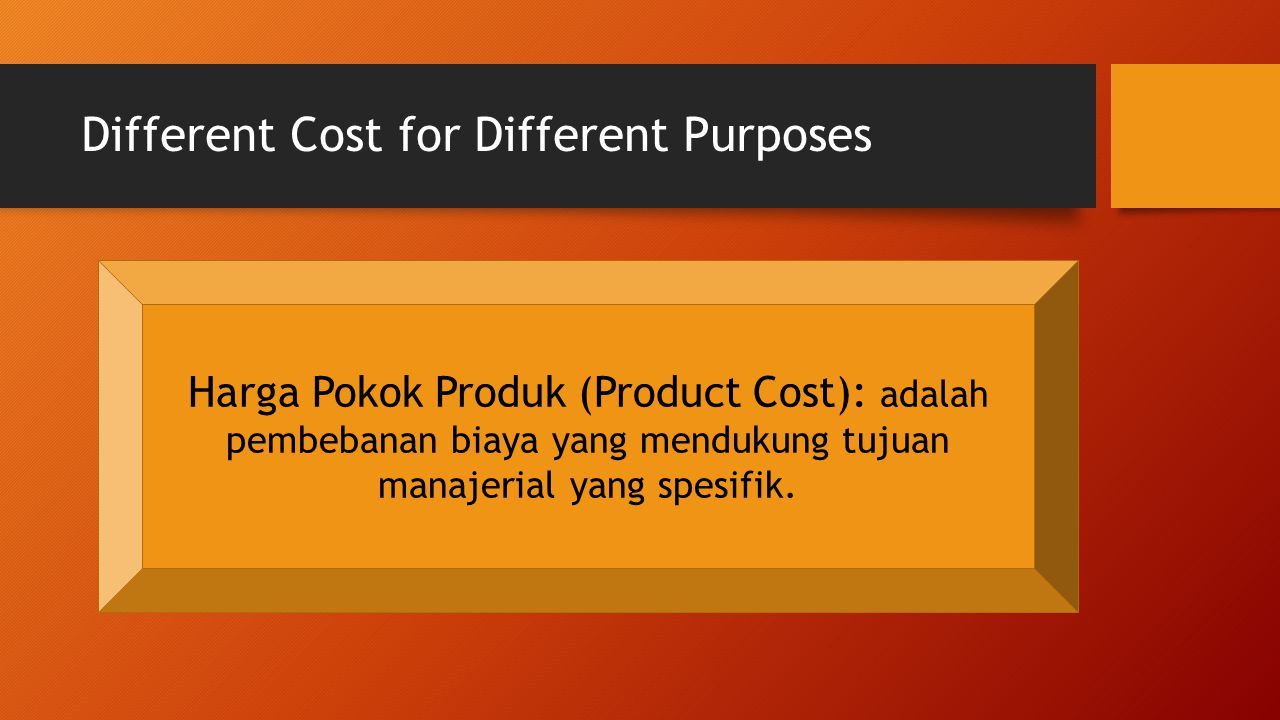 Different Cost for Different Purposes