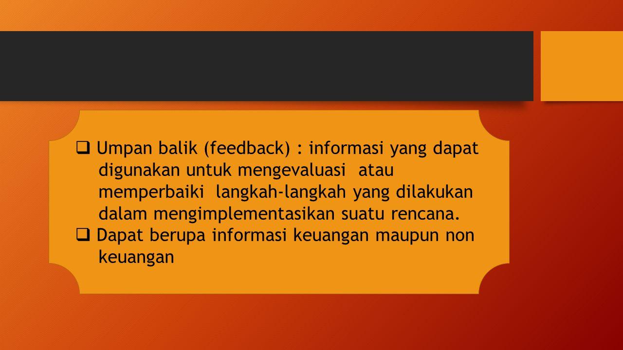 Umpan balik (feedback) : informasi yang dapat