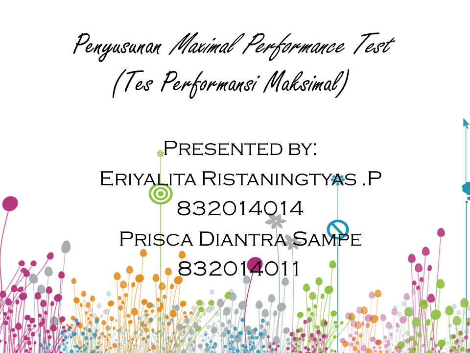 Penyusunan Maximal Performance Test (Tes Performansi Maksimal)