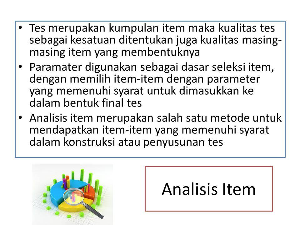 Tes merupakan kumpulan item maka kualitas tes sebagai kesatuan ditentukan juga kualitas masing-masing item yang membentuknya
