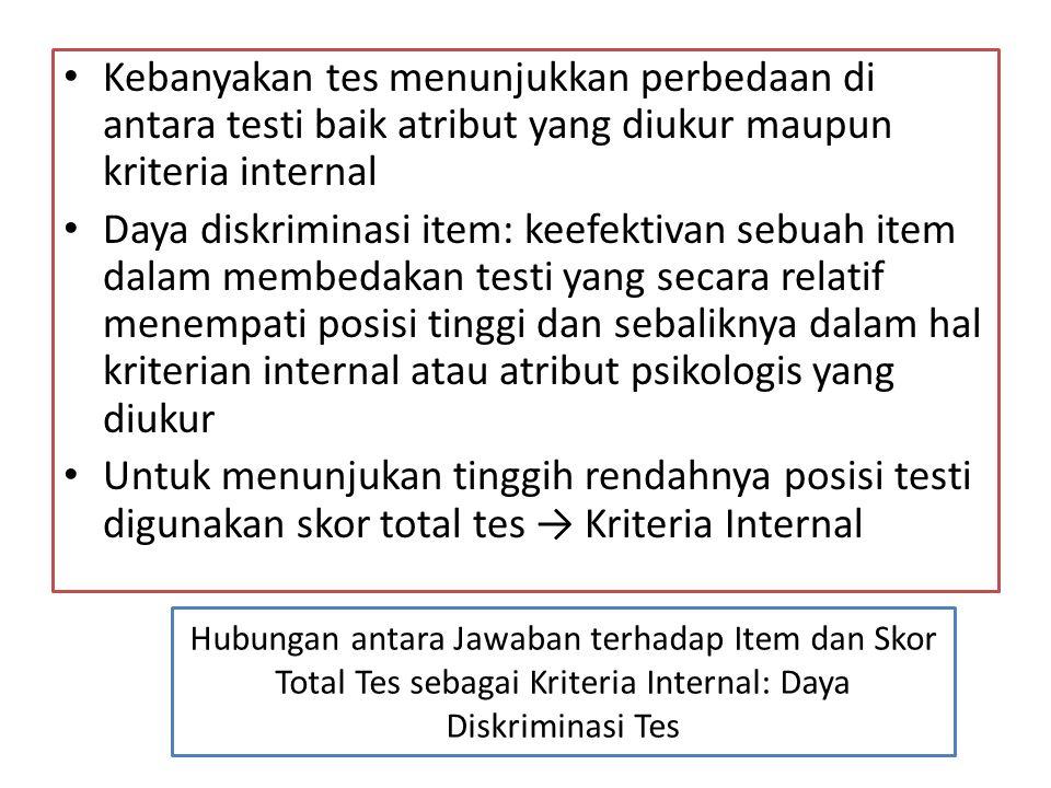 Kebanyakan tes menunjukkan perbedaan di antara testi baik atribut yang diukur maupun kriteria internal