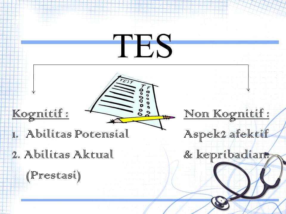 TES Kognitif : Non Kognitif : 1. Abilitas Potensial Aspek2 afektif