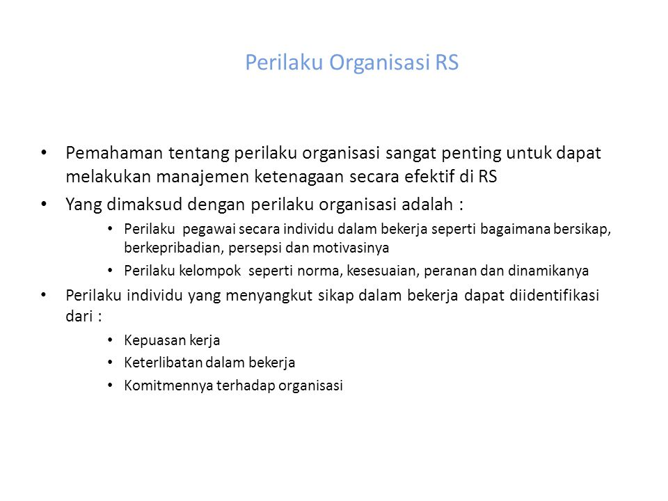 Perilaku Organisasi RS