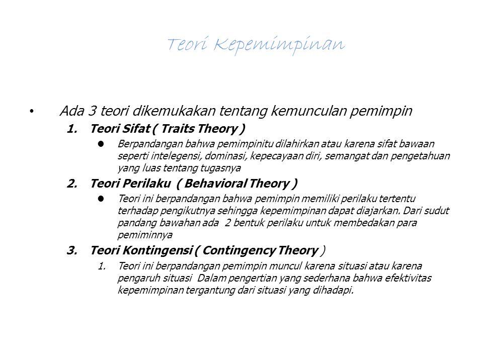 Teori Kepemimpinan Ada 3 teori dikemukakan tentang kemunculan pemimpin