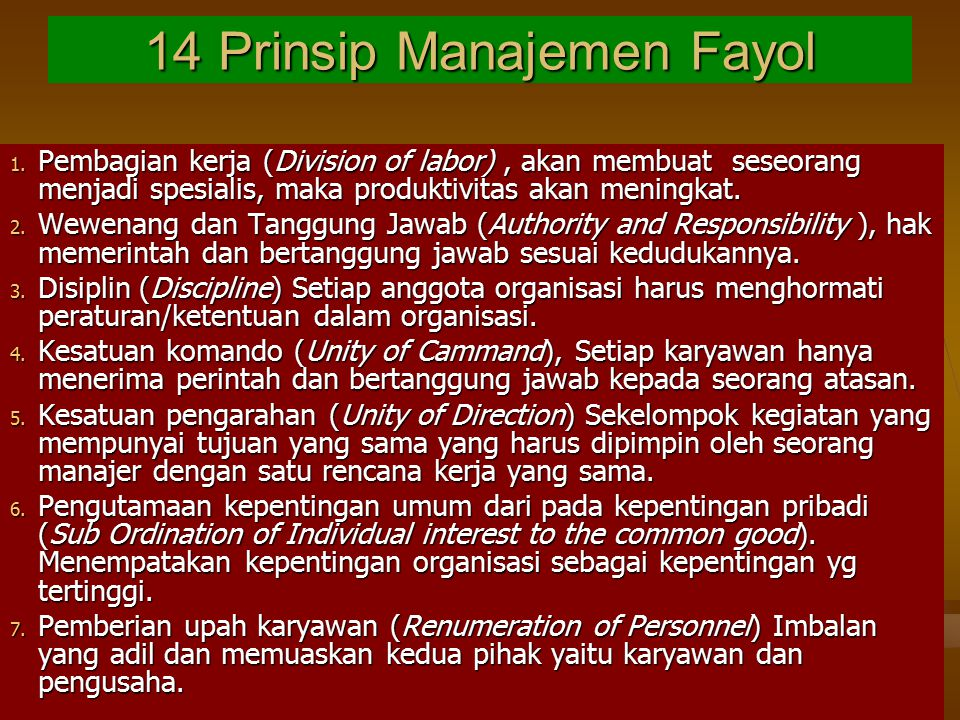 14 Prinsip Manajemen Fayol